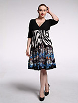 Women's Holiday / Plus Size Boho Swing Dress,Print V Neck Knee-length ½ Length Sleeve Black Polyester / Spandex Summer