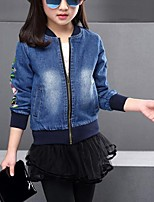 Girl's Casual/Daily Embroidered Suit & Blazer,Cotton Spring / Fall Blue