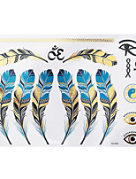1pc Flash Metallic Tattoo Silver Gold Waterproof Blue Feather Eyes Temporary Tattoo Sticker YH-083