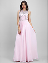 TS Couture® Formal Evening Dress Sheath / Column Jewel Floor-length Chiffon with Beading