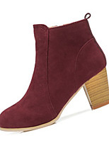 Women's Boots Spring / Fall Fashion Boots Fleece Casual Flat Heel Others Black / Red / Almond