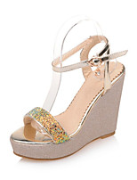 Women's Shoes Patent Leather / Glitter Wedge Heel Wedges / Platform / Open Toe Sandals Office & Career / Dress / White