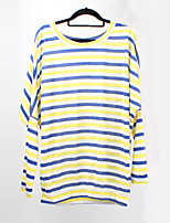 Women's Striped Red / Yellow T-shirt,Round Neck Long Sleeve