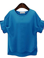 Women's Solid Blue / Red / White / Yellow Blouse,Round Neck Short Sleeve