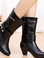 Boots Fall / Winter Fashion Boots Leather Casual Chunky Heel Buckle Black / Brown