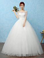 Ball Gown Wedding Dress Floor-length Scoop Lace / Satin / Tulle with Beading / Bow / Lace