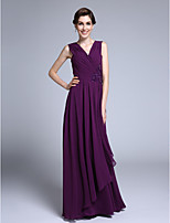 Lanting Bride Sheath / Column Mother of the Bride Dress Floor-length Sleeveless Chiffon with Criss Cross / Sequins