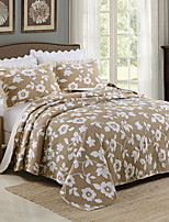 100% Cotton  Floral 3 pieces Quilted Bedspread set , King Size