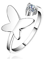 Butterfly Flower Rhinestones Opening Can Be Adjusted Sterling Silver Ring