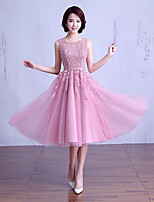 Tea-length Lace / Satin Bridesmaid Dress Ball Gown Jewel with Beading / Lace / Sash / Ribbon