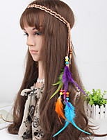 Women's Bohemia Feather Wooden Beads Headbands 1 Piece Multicolor