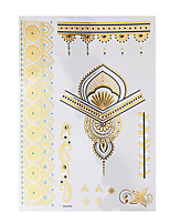 1pc Temporary Flash Metallic Tattoo Gold Silver Flower Pendant Waterproof Tattoo Sticker YH-073
