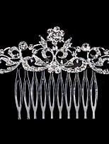 여성 진주 / 라인석 / 크리스탈 / 합금 투구-웨딩 / 특별한날 / 캐쥬얼 머리 빗 1개 화이트 둥근 8*6cm