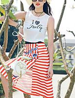 De las mujeres Chic de Calle Noche Verano Camiseta,Escote Redondo Estampado Sin Mangas Poliéster Blanco Fino