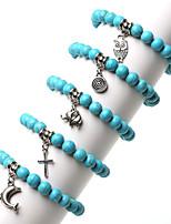 Beadia 10Pcs Fashion Mixed-Styles 8mm Round Stone Charm Bracelet Unsex's Strand Bracelets
