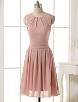 Short / Mini Chiffon Bridesmaid Dress A-line Jewel with Side Draping