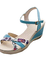 Women's Sandals Summer Sandals PU Casual Wedge Heel Buckle Blue / Pink / White Others
