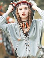 Aporia.As® Women's Round Neck Long Sleeve Shirt & Blouse Gray-MZ12017
