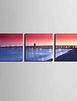 E-HOME® Stretched Canvas Art Sunset Bridge Decoration Painting  Set of 3