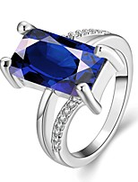 2016 Classic Casual Blue 18K Gold Plated & Zirconia Wedding Party Ring Gift For Women