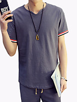Men's Fashion Personalized V Neck Cotton And Linen Slim Fit Short-Sleeve T-Shirt;Casual/Cotton/Plus Size