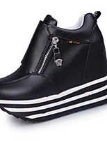 Women's Heels Fall Round Toe PU Casual Wedge Heel Zipper Black / Red / White Others