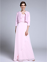 Lanting Bride Sheath / Column Mother of the Bride Dress Floor-length 3/4 Length Sleeve Chiffon with Beading
