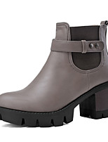 Women's Shoes Leatherette Fall / Winter Bootie Boots Party & Evening / Dress / Casual Chunky Heel Buckle Black / Gray