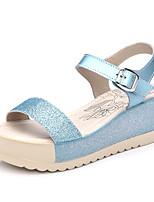 Women's Sandals Summer Comfort PU Outdoor / Office & Career Flat Heel Buckle Blue / Pink / White