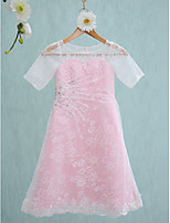 Lanting Bride Knee-length Lace Junior Bridesmaid Dress Sheath / Column Jewel with Beading