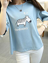 Women's Casual/Daily Active Summer T-shirt,Solid Round Neck ½ Length Sleeve Blue / Pink Cotton / Polyester Thin