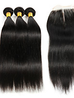 3 Bundles Brazilian Hair Straight Human Hair Weave with 4