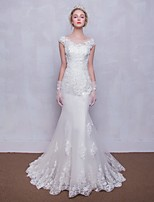 Trumpet / Mermaid Wedding Dress Court Train Scoop Tulle with Appliques / Beading