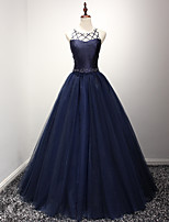 Formal Evening Dress Ball Gown Jewel Floor-length Organza with Beading