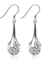 2016 Korean Women 925 Silver Sterling Silver Jewelry AAA Zircon Earrings Drop Earrings 1PairImitation Diamond Birthstone