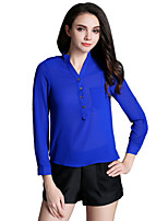 Women's Casual/Daily Cute Spring / Summer / Fall Blouse,Solid V Neck Long Sleeve Blue Others Thin
