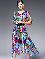 AFOLD® Women's V Neck Short Sleeve Midi Dress-5590