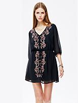 Heart Soul® Women's V Neck 3/4 Length Sleeve Knee-length Dress-11AA17472