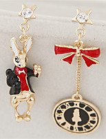 Women's European Style Fashion Sweet Bow Clock Asymmetric Rabbit Drop Earrings