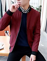 Men's Long Sleeve Casual / Sport Jacket,Polyester Print Black / Blue / Red