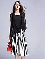 BOMOVO® Women's Round Neck Long Sleeve Tea-length Jumpsuit-B16XA49