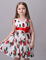 Girl's Casual/Daily Floral Dress,Cotton / Polyester All Seasons Red