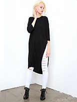 Women's Casual/Daily Street chic Spring Blouse,Solid Round Neck ¾ Sleeve Black Cotton Medium