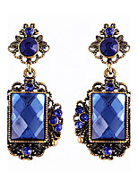 Trend Nifty Decorative Pattern Square Crystal Luxury Vintage Sapphire Earrings