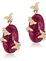Fashion Party Rose Red Cubic Zirconia Earrings Plant Leaf Jewelry 18k Gold Plated Stud Earrings