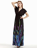 Women's Holiday / Plus Size Boho Swing Dress,Print Deep V Maxi Sleeveless Black Cotton / Polyester Summer