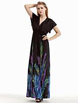 Women's Holiday / Plus Size Boho Swing Dress,Print Deep V Maxi Sleeveless Black Cotton / Polyester Summer