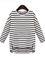 Women's Casual/Daily Simple Spring T-shirt,Striped Round Neck Long Sleeve White / Black Polyester Medium