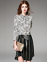 Boutique S  Women's Going out Street chic A Line Dress,Patchwork Shirt Collar Asymmetrical Long Sleeve White Silk Fall