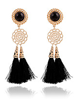Exaggerated Fashion Long Tassels Flowers Sequins Drop Earrings Bridal Accessories